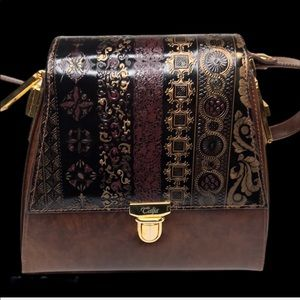 Italian Leather/Deep Brown, Black, & Gold Mini Bag